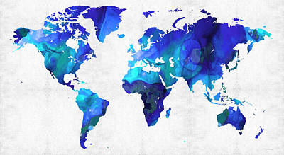 World Map 17 - Blue Art By Sharon Cummings Art Print by Sharon Cummings