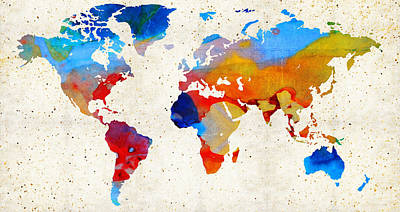 World Map 18 - Colorful Art By Sharon Cummings Art Print by Sharon Cummings