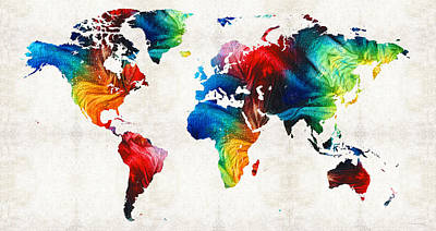 World Map 19 - Colorful Art By Sharon Cummings Art Print
