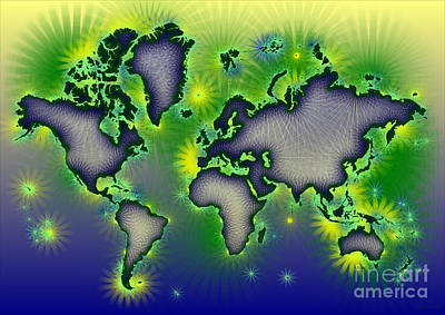 World Map Amuza In Blue Yellow And Green Art Print by Eleven Corners