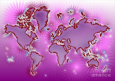 World Map Amuza In Pink And Purple Art Print by Eleven Corners
