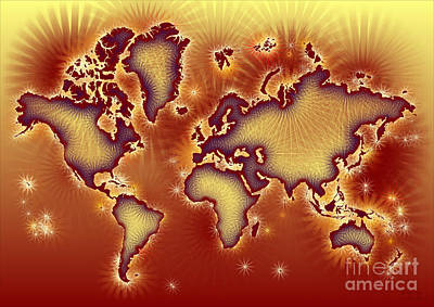 World Map Amuza In Red And Yellow Art Print by Eleven Corners