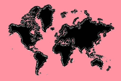 Photograph - World Map Black And Pink by Andrew Fare