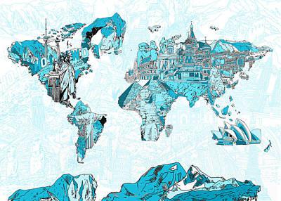 Paris Painting - World Map Blue Collage by Bekim Art