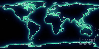 World Map Blue/green Glow Art Print by Pixel Chimp