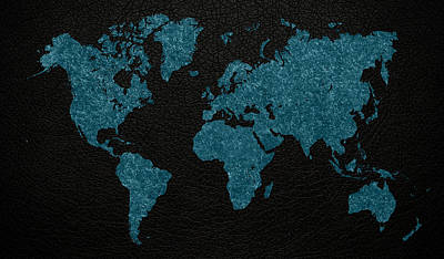 Fabric Mixed Media - World Map Blue Vintage Fabric On Dark Leather by Design Turnpike