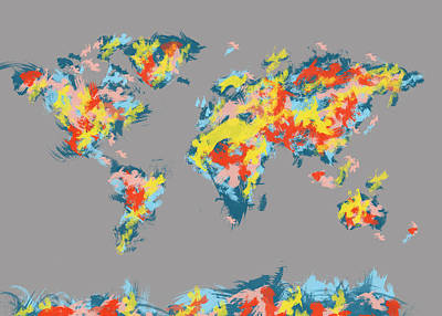 Globe Painting - World Map Brush Strokes 3 by Bekim Art