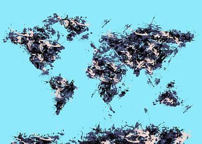 America The Continent Digital Art - World Map Brush Strokes by Bekim Art
