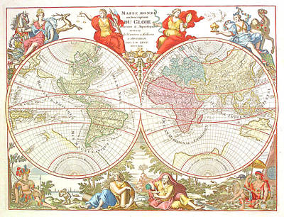 World Map Poster Drawing - World Map C1694 by Safran Fine Art