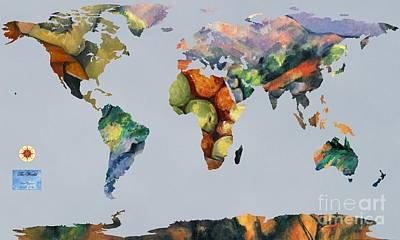 Noir Digital Art - World Map Cezanne 1 by John Clark