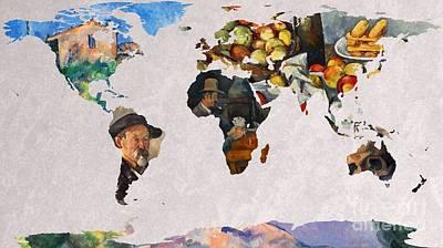 Noir Digital Art - World Map Cezanne 3 by John Clark