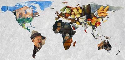 Noir Digital Art - World Map Cezanne 4 by John Clark