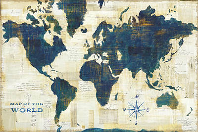 Maps Painting - World Map Collage Working by Sue Schlabach