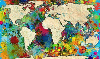 Watercolor Map Painting - World Map Colorful by Gary Grayson