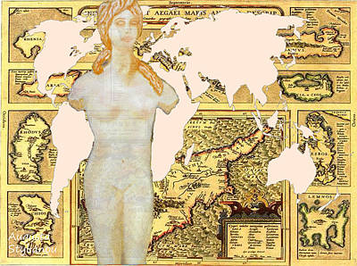Digital Art - World Map Cyprus And Aphrodite by Augusta Stylianou