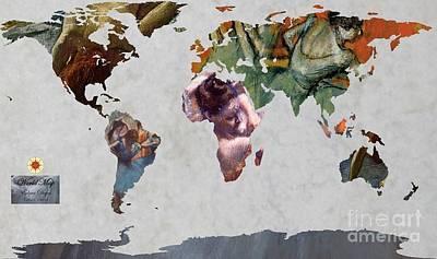 Ballet Dancers Painting - Degas 5  World Map by John Clark
