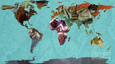 Ballet Dancers Painting - World Map Degas 2 by John Clark