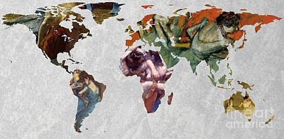 World Map Degas 3 Art Print by John Clark