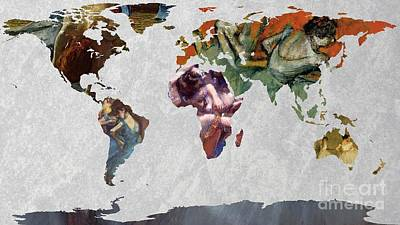 World Map   Degas 4 Art Print by John Clark