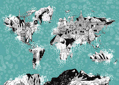 Paris Painting - World Map Drawing Collage 2 by Bekim Art