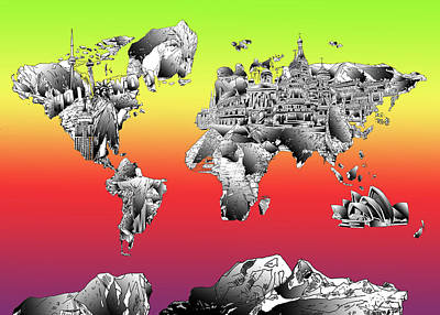 Globe Painting - World Map Drawing Collage by Bekim Art