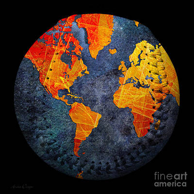 Photograph - World Map - Elegance Of The Sun Baseball Square by Andee Design