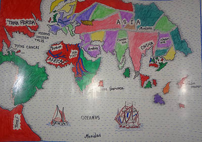 Central India Painting - World Map by Farhana  Hussen