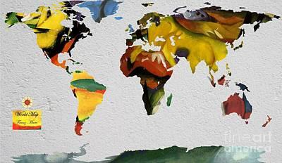 Expressionist Digital Art - Franz Marc 4 World Map by John Clark