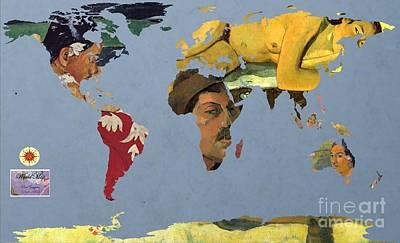 Self Portrait Digital Art - World Map  Gauguin by John Clark