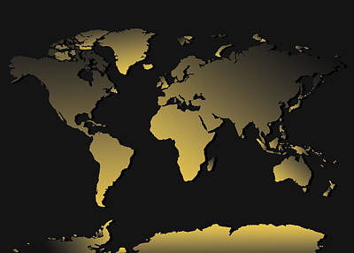 Gradient Painting - World Map Gradient by Bekim Art