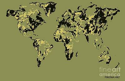 Relief Map Digital Art - World Map Green Pop by Dragica  Micki Fortuna