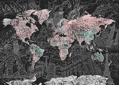 Paris Painting - World Map Grunge by Bekim Art