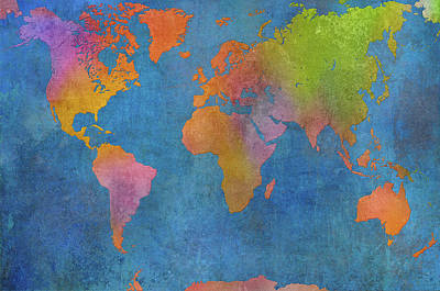 Maps Painting - World Map I by Cora Niele
