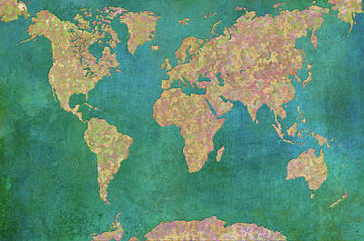 Maps Painting - World Map II by Cora Niele