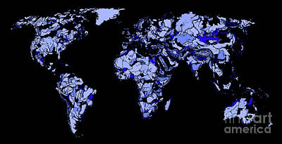 Boundary Drawing - World Map In Blue-black by Adendorff Design