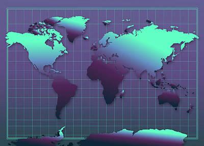 Gradient Painting - World Map In Dark Green by Bekim Art