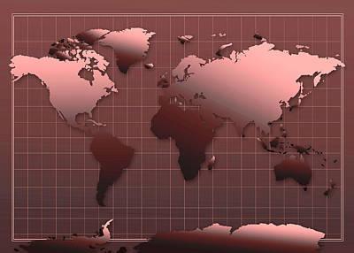Gradient Painting - World Map In Dark Red by Bekim Art