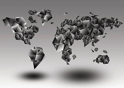 3d World Map Painting - World Map In Geometic Gray  by Bekim Art