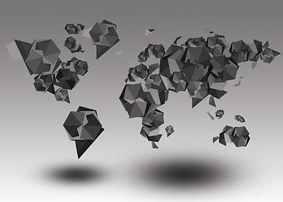 Globe Painting - World Map In Geometric Fractal by Bekim Art