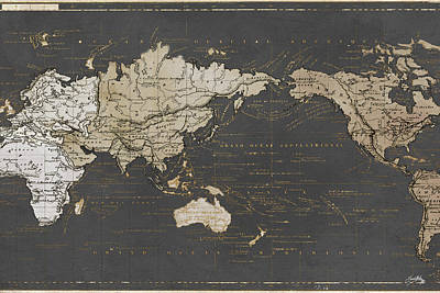World Map In Gold And Gray Art Print by Elizabeth Medley