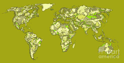 Boundary Drawing - World Map In Khaki  by Adendorff Design