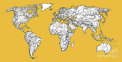Mother Earth Drawing - World Map In Mustard by Adendorff Design