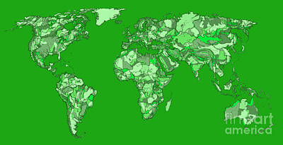 Mother Earth Drawing - World Map In Pine Green by Adendorff Design
