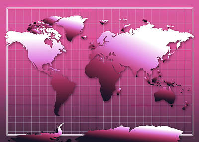 America The Continent Digital Art - World Map In Pink by Bekim Art