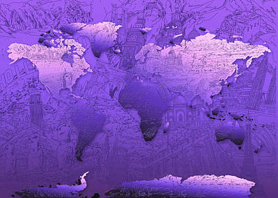 America The Continent Digital Art - World Map In Purple by Bekim Art