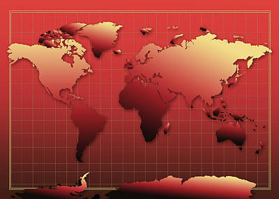 Globe Painting - World Map In Red by Bekim Art