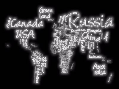 America Mixed Media - World Map In Text Neon Light by Dan Sproul