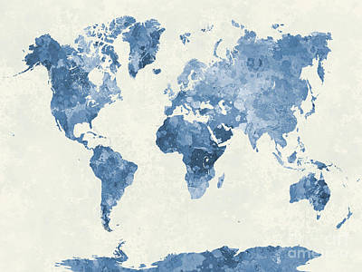 Abstract Earth Map Painting - World Map In Watercolor Blue by Pablo Romero