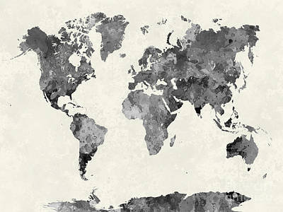 Abstract Earth Map Painting - World Map In Watercolor Gray by Pablo Romero