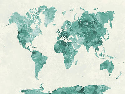Globe Painting - World Map In Watercolor Green by Pablo Romero